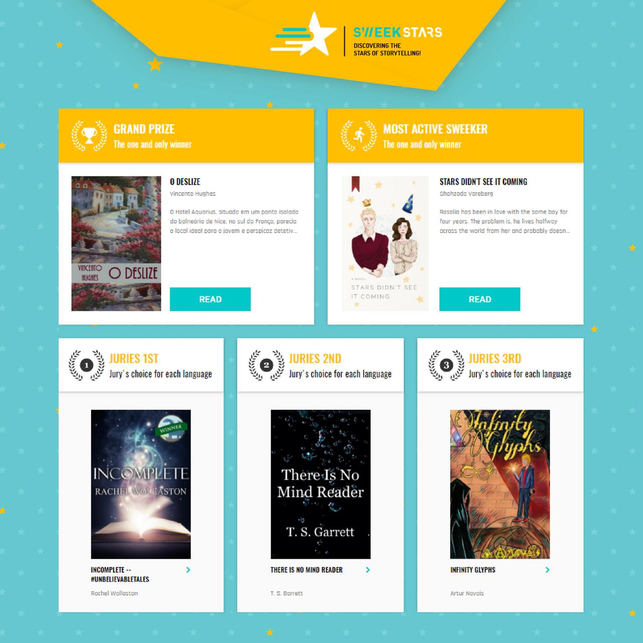 The winners and finalists of the SweekStars international writing